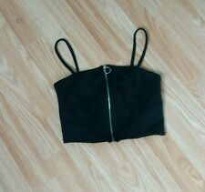 Women's brand new atmosphere black zipped front crop top size 6