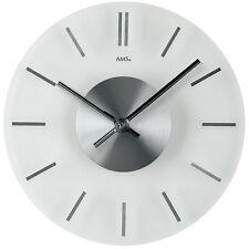 AMS 9318 Wanduhr Quarz, Mineralglas mit Stundenmarkierungen in Aluminium