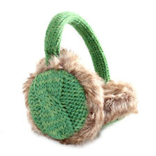Aran Traditions Womans Ladies Winter Warm Knitted Style Emerald Green Earmuffs