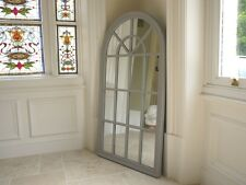 Large Wooden framed Arch Window Style Mirror Antique White/Grey Distressed
