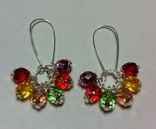 Rainbow crystal Earrings TUTTI FRUTTI Harlequin Fire Polished Czech glass beads