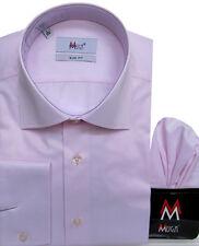 Slim-fit Herren Hemd mit Einstecktuch Gr.L Rosa