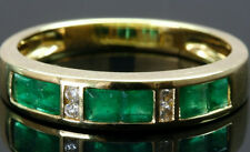 Natural Emerald & Diamond Anniversary Band Ring Channel Set In 14K Yellow Gold