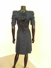 Biba blue silk blend cocktail dress cutout back bow detail sz. 8UK
