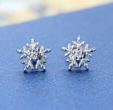 New 925 Sterling Silver Crystal Snowflake Ear Stud Earrings Women Jewelry Gift