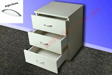 WHITE BEDSIDE TABLE with DRAWERS + CHROME HANDLES Solid European Size Furniture