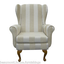 Wing Back Fireside Armchair Balmoral Chair in Woburn Beige Stripe Fabric