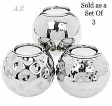 LARGE BALL SILVER  SET OF 3  TEA LIGHT CANDLE HOLDERS ORNAMENT CHRISTMAS GIFT