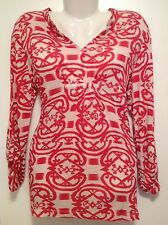 Women's Red & White Ruched Front Aztec Print Long Sleeved Top Blouse NEW Size 10