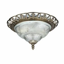 7045-13 Traditional Antique Brass Flush Ceiling Light Fitting Etched Glass Shade