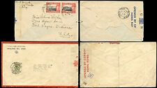 HONG KONG KG6 1941 CENSOR COVERS to USA..RED + BLUE TAPES CHEUNG CHAU + VICTORIA