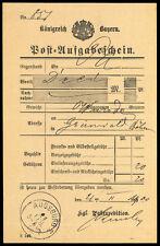 Bayern, AUGSBURG, K1 auf Post-Aufgabeschein Brief (1572000481)