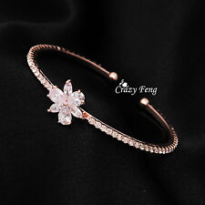Women's 18K Rose Gold Plated Flower Wristband CZ Crystal Bangles Cuff Bracelets