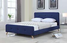 Modern Scandinavian Queen Size Fabric Bed Frame - Blue