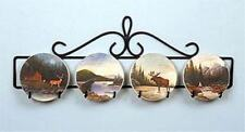 """4 SMALL HORIZONTAL PLATE HOLDER WALL HANGER 20"""" L APPROX. 4"""" PLATE DISPLAY BLACK"""