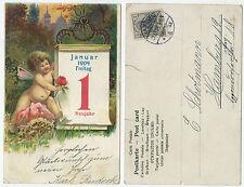34283 - Neujahr - Putte mit Kalender -Ansichtskarte, gelaufen Hamburg 31.12.1903
