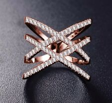 18K REAL ROSE GOLD FILLED XX RING SIZE 9(S) MADE WITH SWAROVSKI CRYSTALS