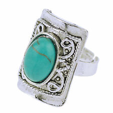 Fashion Oval Turquoise Jewelry Women Fashion Tibetan Silver Ring Party Cocktail