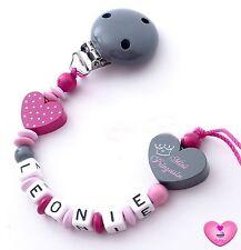 ♥ Schnullerkette mit Namen ♥ Mini Prinzessin ♥ Herz ♥ Babygeschenk Mädchen ♥