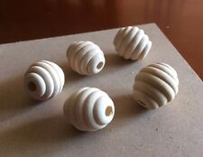 5 x Unfinished Wooden Beehive Beads 22x20mm - Natural Groovy Oval Wood Craft DIY