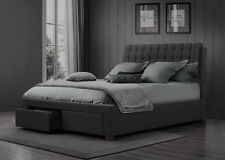 Luxury Queen Size Fabric Bed Frame with 2 drawers- Dark Grey