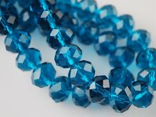 200pcs 4mm Faceted Rondelle Loose Spacer Crystal Glass Beads Peacock Blue