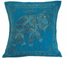 Blue Elephant Cushion Covers INDIAN Handmade Cotton Embroidered Sequins 40cm