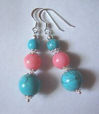 925 SILVER  TURQUOISE & PINK CORAL DROP EARRINGS NEW