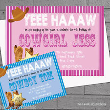 Personalised Cowboy Cowgirl Birthday Party Invitations x 12 +envs H1160