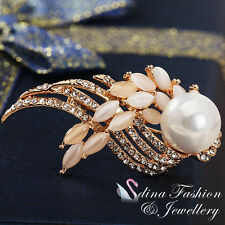 18K Rose Gold Plated Genuine Swarovski Created Pearl & Opal Feather Brooch