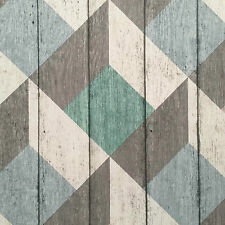Green, Blue, Grey & White Rustic Geometric Textured Wood Panel Wallpaper - 10m