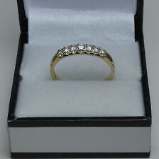 9ct Gold Seven Stone Diamond Half Eternity Ring Claw Set 0.25ct Size S