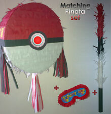 Pokeball Pinata Set Birthday Party Large Smash Stick Pikachu Pokemon Pokémon GO