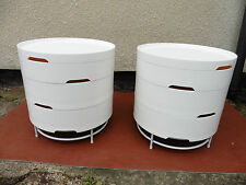 PAIR OF IKEA WHITE PLASTIC BEDSIDE CABINETS, CHESTS, TABLES, LIFT OFF TIERS.