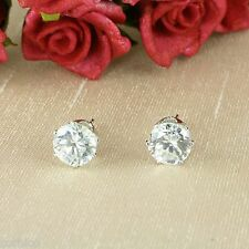 E1- 18K White Gold Plated Stud Earrings w Round Clear Cubic Zirconia Crystal 8mm