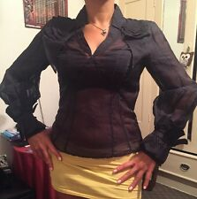 Karen Millen 100% Silk Blouse, Size 10 UK, Black
