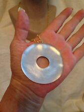 ALEXIS BITTAR WHITE SILVER LUCITE ROUND CIRCLE LONG NECKLACE - GOLD - HUGE!!!