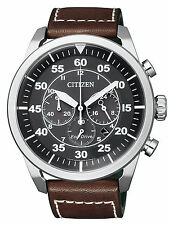 Citizen Eco-Drive Solar Powered Leather Strap Chrono Mens Steel Watch CA4210-16E
