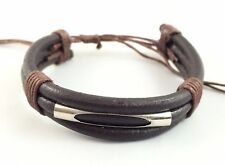 Thick Leather w Cotton Bracelet Anklet Wristband / Black Brown Mens Womens Kids