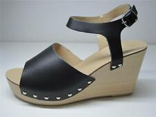 SPORTSGIRL RRP$99.95 PEEP TOE LADIES WOMEN CLOG WEDGE LEATHER SHOE BLACK 10 41