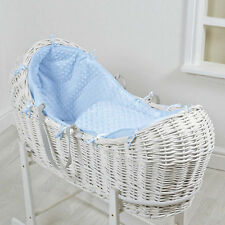 NEW 4BABY BLUE DIMPLE WHITE WICKER BABY MOSES BASKET / NOAH POD & MATTRESS