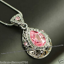 Xmas Gifts For Her Pink Crystal Pendant Necklace Love Wife Sister Daughter Women
