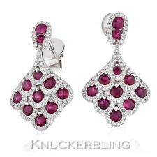 2.20ct Ruby and Diamond Drop Earrings in 18ct White Gold for Pierced Ears