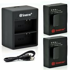 SMATREE® POWER BATTERY (2-PACK) AND DUAL CHARGER W/USB CABLE FOR GOPRO FREE P&P