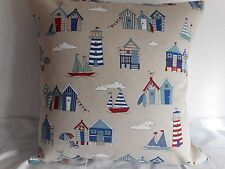 "BEACH HUTS LINEN STYLE COTTON CUSHION COVER BLUE,RED,NATURAL 17""/43cm Seaside"