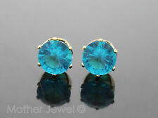 GORGEOUS LARGE 8MM TURQUOISE AQUA BLUE CZ YELLOW GOLD PLATE ROUND EARRINGS STUDS