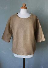 Hallhuber Pullover Sweatshirt Shirt kurz braun beige Glitzernden Gr. S 36 (S37)
