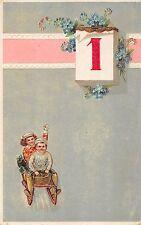 AK Litho. Neujahr Kinder mit Schlitten Kalender mit Nr.1 Postkarte gel. 1921