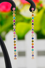 18k Gold Filled Multi-Color Crystal Thin Long Drop Dangle Earrings Jewelry