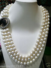 9-10mm natural Super beautiful White Baroque Pearl Shell clasp Necklace
